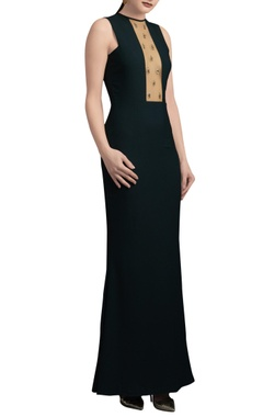 Green sheer paneled gown