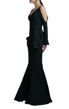 Green cold shoulder gown