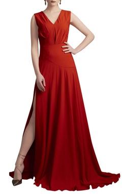 Orange gown with drop waist