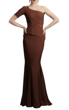Caramel brown one shoulder gown