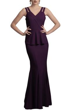 Deep purple peplum gown