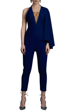 Electric blue jumpsuit with cape sleeve