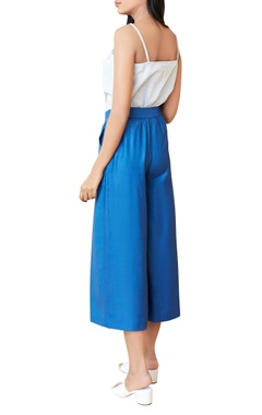 Blue pleated culottes