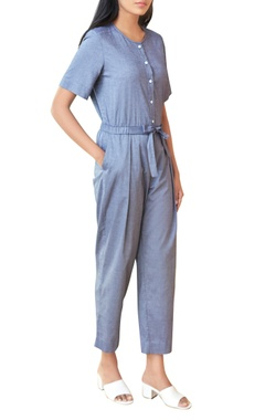 Blueish grey chambray jumpsuit