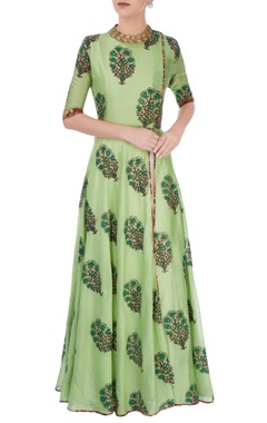 Green leaf print anarkali