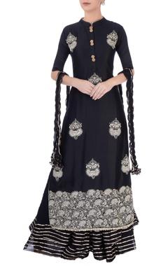 Black printed skirt set
