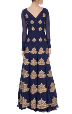 Navy blue embellished anarkali
