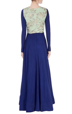 Blue anarkali with floral embroidered top