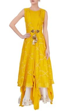 Yellow tie-up kurta with palazzos