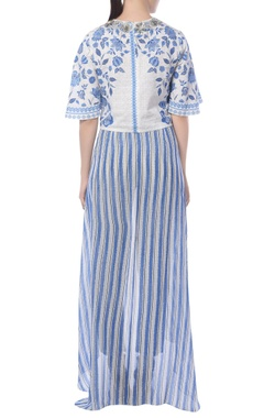 Blue striped pants with attached drape