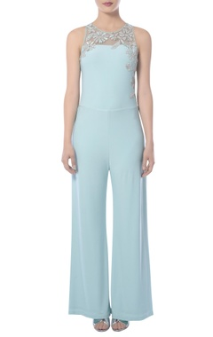Light blue jumpsuit with embroidery