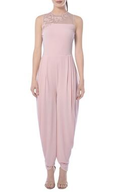 Pink cowl draped jumpsuit