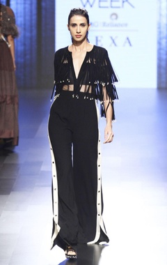 Black suede fringed jumpsuit
