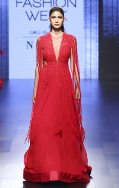 Red gown with fringes
