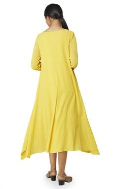 mustard yellow gota embroidered tunic