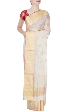 White mulberry silk sari with tanjore paintings