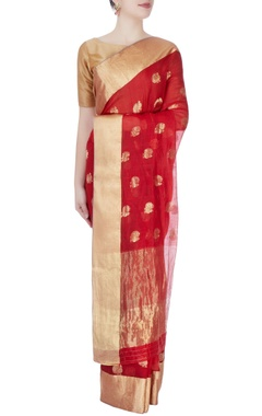 Red mulberry silk sari with tanjore paintings