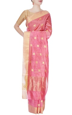 Rough pink mulberry silk sari with cow motifs