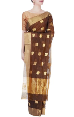 Pecan brown mulberry silk sari with woven elephants