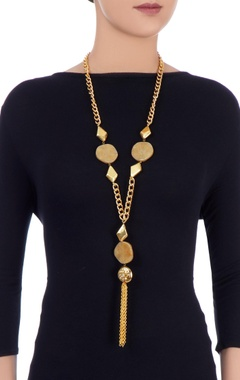Gold plated chain necklace with tassel