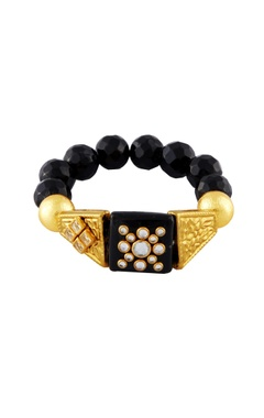 Black & gold studded bracelets