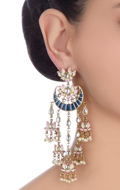 Navy blue & pink lotus dangler earrings