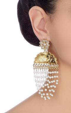 Gold & white kundan dangler earrings