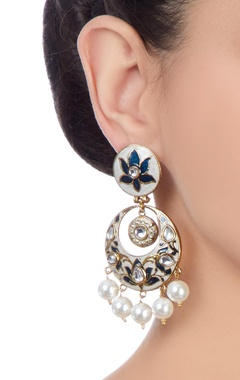 White & blue meena work chaandbalis