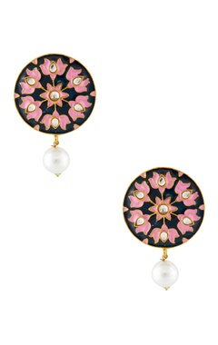 Navy blue lotus drop earrings