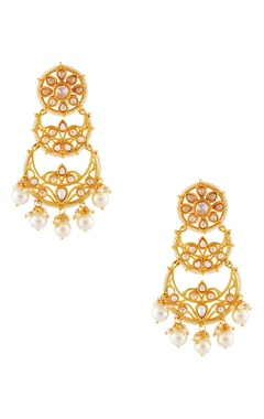 Gold plated tiered drop earrings