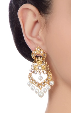 gold plated floral drop earrings