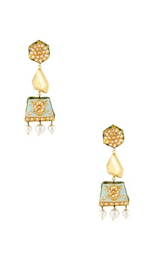 Gold & blue studded drop earrings