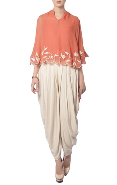 Peach & off-white embroidered pant set