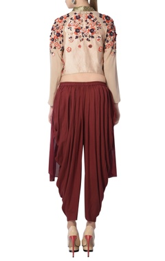 Maroon & beige embroidered pant set