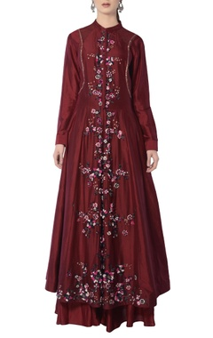 Maroon anarkali set with embroidery