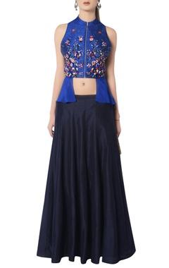 Blue embroidered skirt set