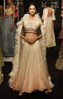 Ivory & pink shaded lehenga set