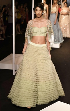 Sage green lehenga set with cape