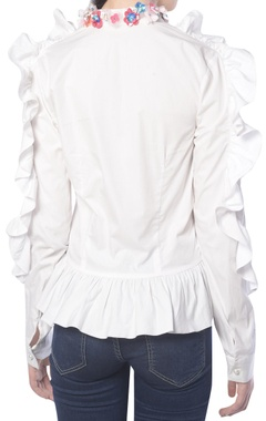 White shirt with frills and embellishments