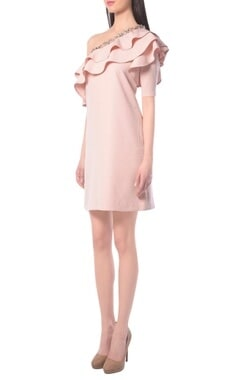 blush pink dress with embellishments