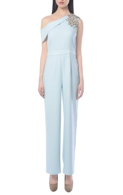 Light blue jumpsuit with embellishments