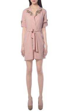 Blush pink embellished jumpsuit
