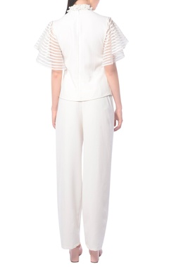 White frill top with pants