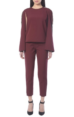 maroon pant set with embellishments