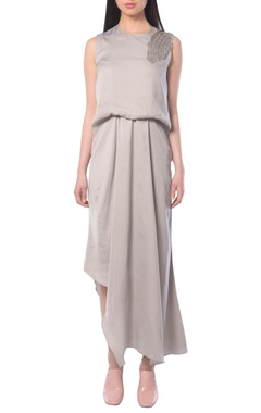 grey draped dress with embellishments