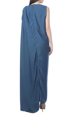blue draped dress with embellishments