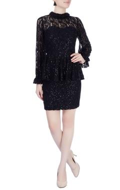 Black sequin embellished peplum dress