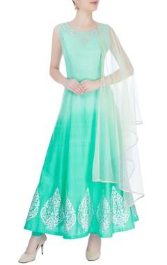 Mint green applique work kurta set