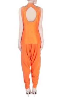 Orange kurta with dhoti pants