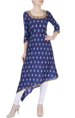 Navy blue printed long kurta